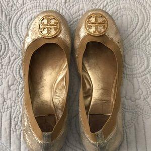 Tory Burch Shoes - Authentic Tory Burch Caroline flats- Gold